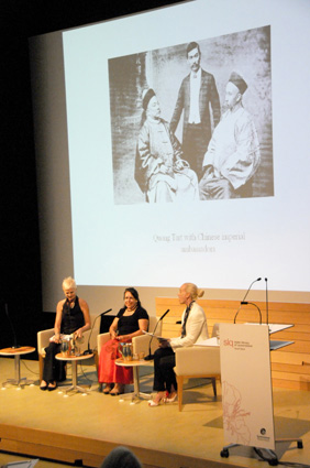 "With Fiona Foley (centre) and Alison Kubler (right) at the State Library of Queensland's ""Black Opium"" Symposium, celebrating Fiona Foley's contribution of purpose built artworks for their building."