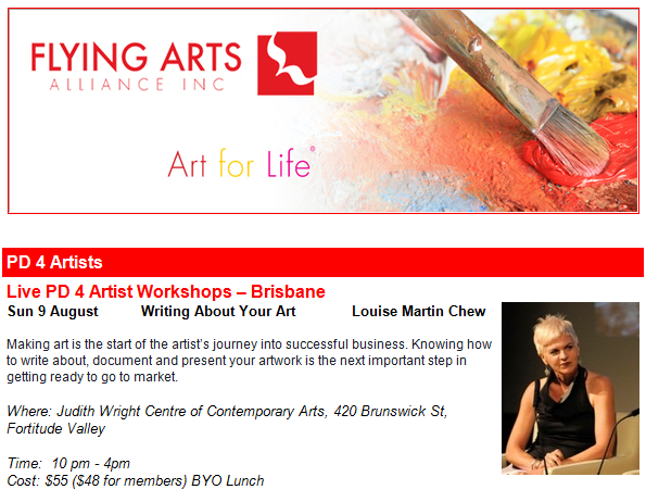 Writing about your Art,  Flying Arts, Sunday 9 August 2015