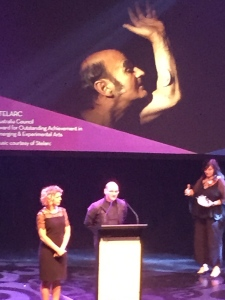 Stelarc, recipient of the Australian Council Award for Outstanding Achievement in Emerging and Experimental Arts, Carriageworks, Sydney, 19 March 2015.