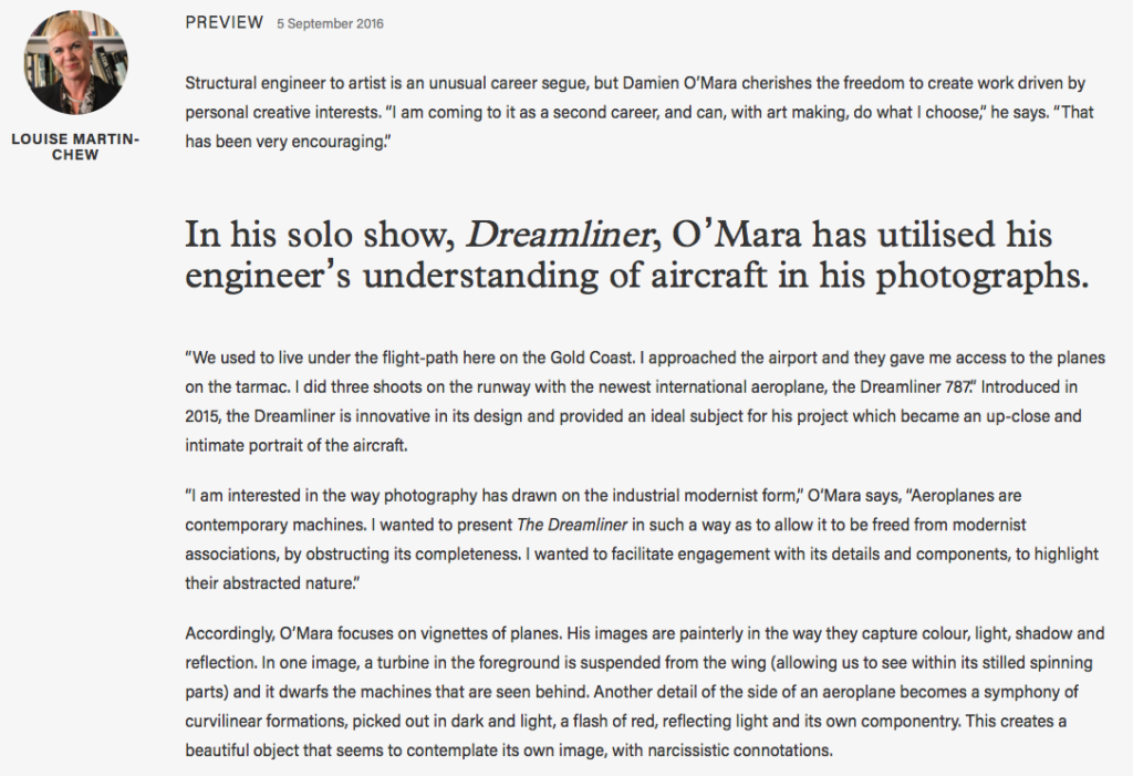 Damien O'Mara, Dreamliner, for ART GUIDE